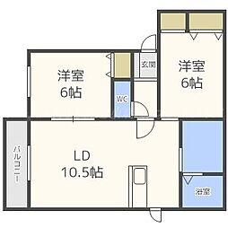 北海道札幌市東区伏古十三条5丁目の賃貸アパートの間取り