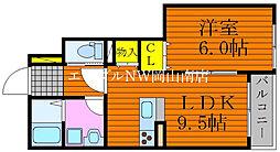 JR山陽本線 岡山駅 バス30分 錦貯水下車 徒歩1分の賃貸アパート 1階1LDKの間取り