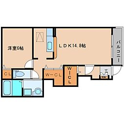 奈良県香芝市鎌田の賃貸アパートの間取り