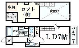 プリマネオ神戸住吉 2階1SKの間取り