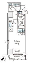 都営新宿線 岩本町駅 徒歩6分の賃貸マンション 3階ワンルームの間取り