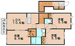 ラフィーネプロムナード3C[2階]の間取り