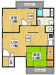 キュービック武庫之荘[3階]の間取り