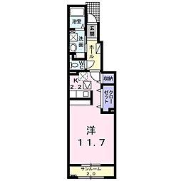 サンバティークB 1階ワンルームの間取り