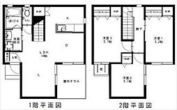 [タウンハウス] 福岡県福岡市博多区那珂1丁目 の賃貸【/】の間取り