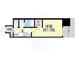 Osaka Metro御堂筋線 大国町駅 徒歩1分の賃貸マンション 11階1Kの間取り
