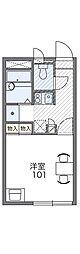 南海高野線 河内長野駅 徒歩18分の賃貸アパート 2階1Kの間取り