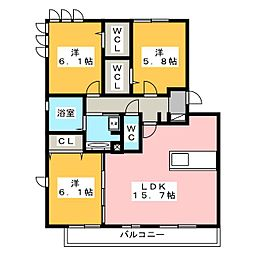 静岡県浜松市東区丸塚町の賃貸アパートの間取り