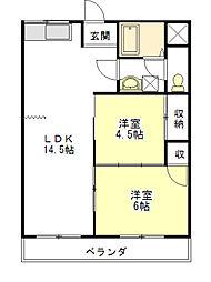 ガーデンヒルズ2号館[1階]の間取り