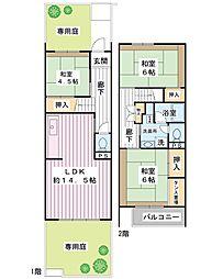 見明川団地43号棟[1階]の間取り