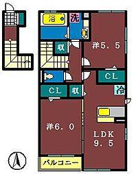 グランドソレーユ(村上南)[201号室]の間取り