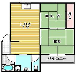 大阪府高槻市栄町3丁目の賃貸マンションの間取り