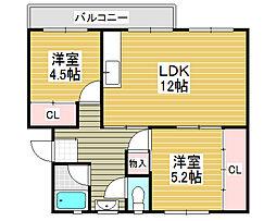 浅香山住宅10棟[4階]の間取り