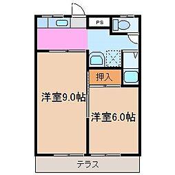 第一伊勢中川ハイツ[1階]の間取り