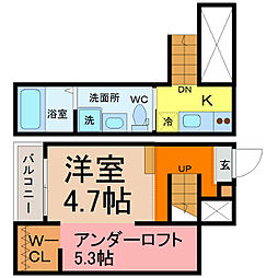 愛知県名古屋市南区豊3丁目の賃貸アパートの間取り