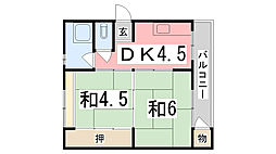 兵庫県姫路市御立中5丁目の賃貸マンションの間取り