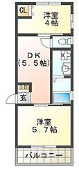 ヴィアノ須磨浦通VI[1階]の間取り