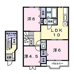 サンライズB[2階]の間取り