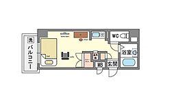 家具・家電付き パンルネックスクリスタル博多2[4階]の間取り
