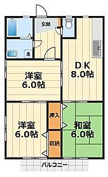 神奈川県横浜市瀬谷区中屋敷1丁目の賃貸アパートの間取り