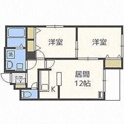 北海道札幌市東区北二十二条東23丁目の賃貸マンションの間取り