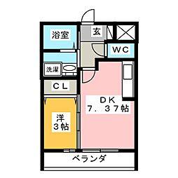 仮)D-room舳越 3階1DKの間取り