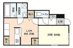 JR山陽本線 新井口駅 徒歩6分の賃貸アパート 1階1LDKの間取り