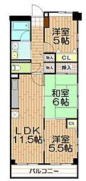 埼玉県さいたま市桜区西堀6丁目の賃貸マンションの間取り