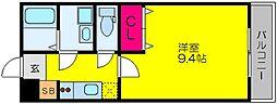 南海高野線 白鷺駅 徒歩19分の賃貸アパート 2階1Kの間取り