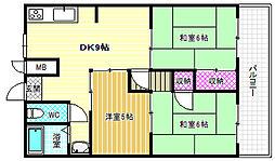 玉手山ハイツ3号館[3階]の間取り