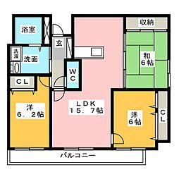 ライフ第5マンション大平台[1階]の間取り