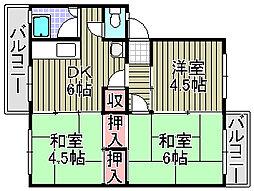 貝塚中央団地[3-302号室]の間取り