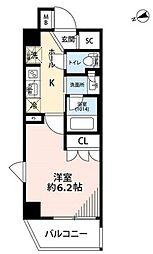 プレール・ドゥーク品川南大井 4階1Kの間取り