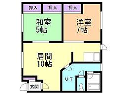 協和アパート 2階2LDKの間取り