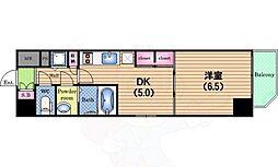 Osaka Metro千日前線 阿波座駅 徒歩6分の賃貸マンション 6階1DKの間取り