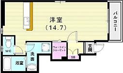 神戸市西神・山手線 伊川谷駅 徒歩37分の賃貸アパート 1階ワンルームの間取り