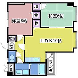 兵庫県明石市小久保1丁目の賃貸マンションの間取り