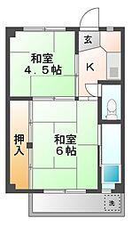 ビレッジハウス滝呂4号棟[1階]の間取り