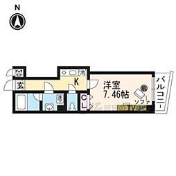 阪急京都本線 京都河原町駅 徒歩2分の賃貸マンション 7階1Kの間取り
