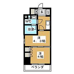 パークアクシス横濱大通り公園 8階2Kの間取り