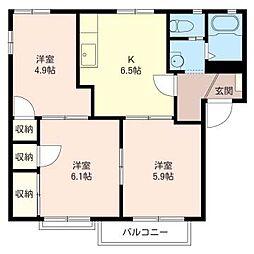 第5 岡野ハイツ[2階]の間取り