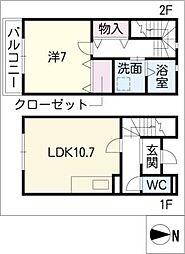 [タウンハウス] 愛知県名古屋市西区平中町 の賃貸【愛知県 / 名古屋市西区】の間取り