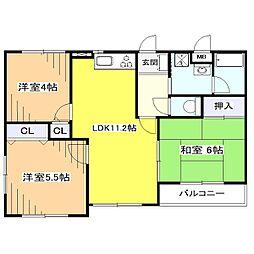 東京都東大和市向原5丁目の賃貸マンションの間取り