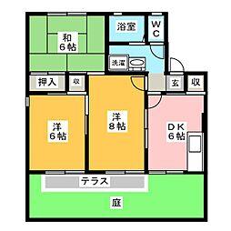 セジュール曽田[1階]の間取り