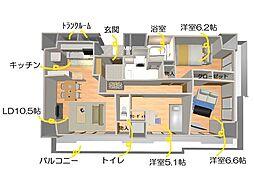 D'グラフォート盛岡駅前タワーズ コテージ[506号室]の間取り