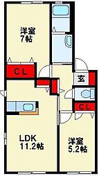 ボヌール立屋敷 A棟[1階]の間取り