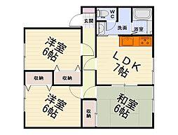 大阪府泉大津市東雲町の賃貸アパートの間取り