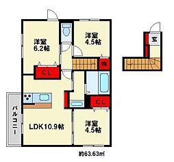 福岡県大野城市乙金2丁目の賃貸アパートの間取り
