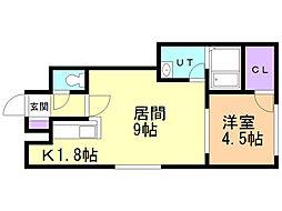 プレシャス27番館 2階1LDKの間取り