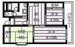 ユーネスト浅野[4階]の間取り